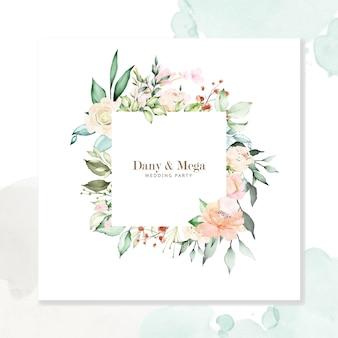 Acuarela floral marco fondo multiusos