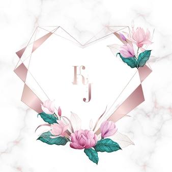 Acuarela floral con marco geométrico de corazón de oro rosa, fondo de usos múltiples