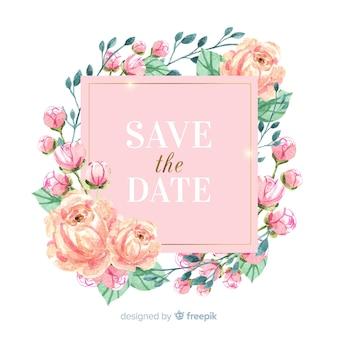 Acuarela floral marco guardar la fecha de fondo