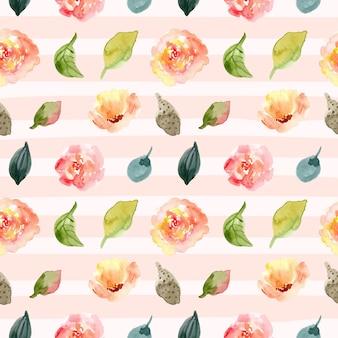 Acuarela floral sin patrón y línea de fondo.