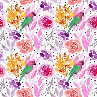 Acuarela floral y patrón transparente de aves