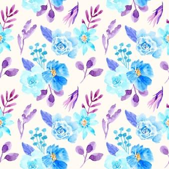 Acuarela floral patrón transparente azul y púrpura