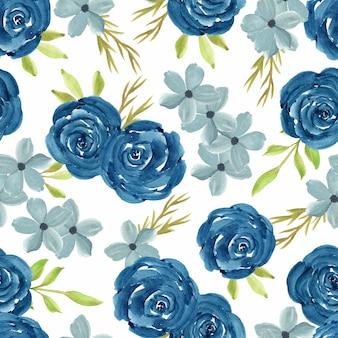 Acuarela floral de patrones sin fisuras con rosa azul marino
