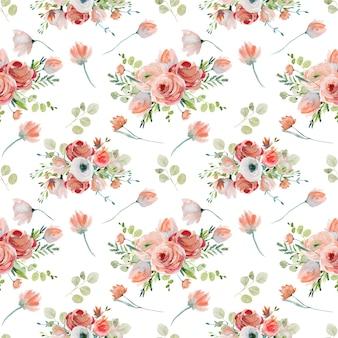 Acuarela floral de patrones sin fisuras de rosas rojas y rosas flores silvestres y ramas de eucalipto