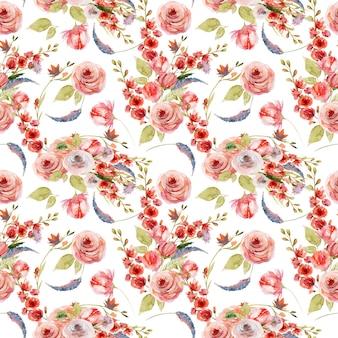 Acuarela floral de patrones sin fisuras de rosas rosadas y rojas y flores silvestres