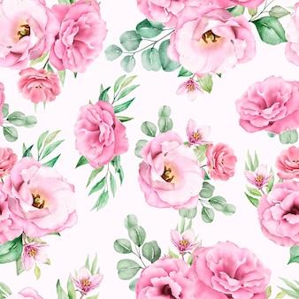Acuarela floral de patrones sin fisuras