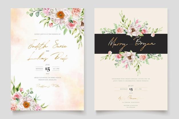 Acuarela floral peonías y rosas conjunto de tarjeta de invitación de boda