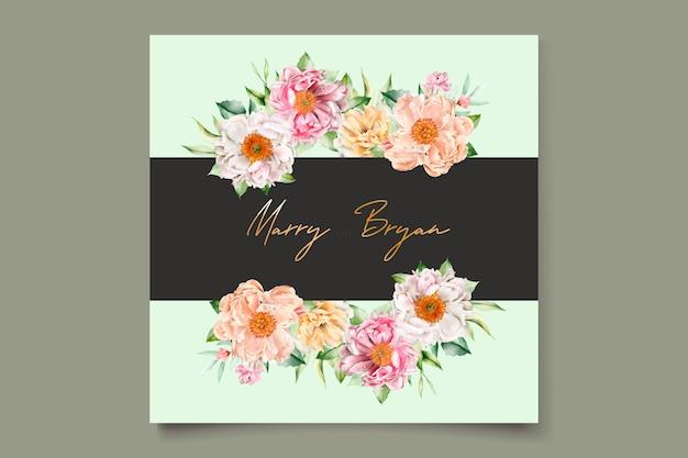 Acuarela floral peonías y rosas tarjeta de invitación de boda