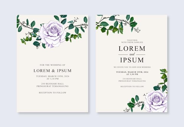 Acuarela floral pintada a mano para una hermosa plantilla de invitación de boda