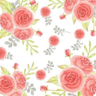 Acuarela floral rosas y hojas de patrones sin fisuras