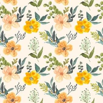 Acuarela floral vintage de patrones sin fisuras