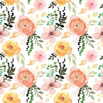 Acuarela de flores y hojas de patrones sin fisuras