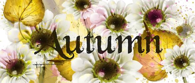Acuarela flores de otoño