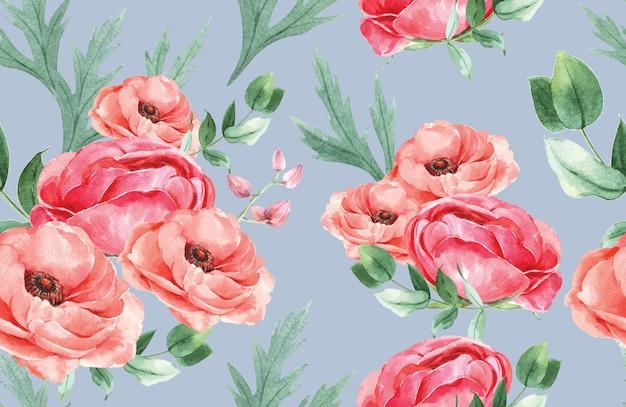 Acuarela de flores de patrón botánico, tarjeta de agradecimiento, ilustración de impresión textil