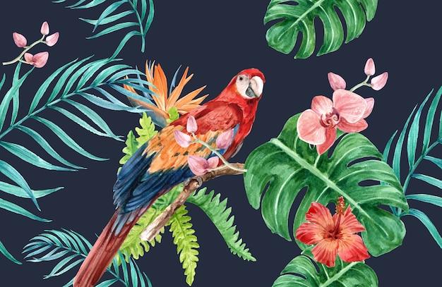 Acuarela de flores de patrón tropical, tarjeta de agradecimiento, ilustración de impresión textil