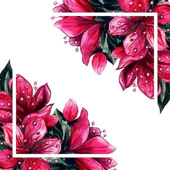 Acuarela flores rosa pétalo flores marco