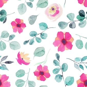 Acuarela de flores silvestres, rosas rosadas, ramas de eucalipto y hojas de patrones sin fisuras