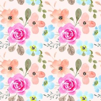 Acuarela de flores suaves de patrones sin fisuras