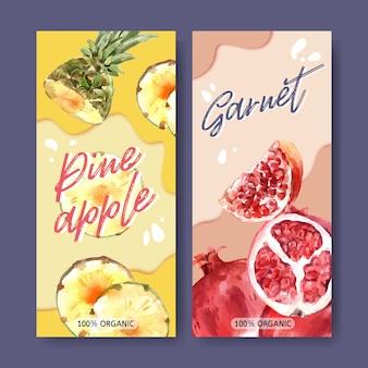 Acuarela de flyer con tema de frutas, plantilla de ilustración colorida.