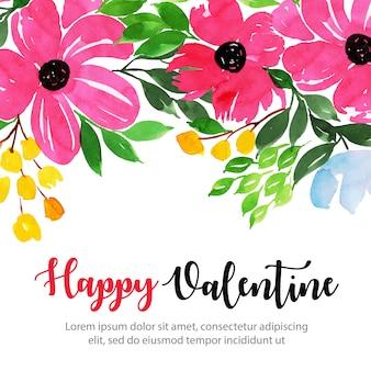 Acuarela fondo floral de san valentín