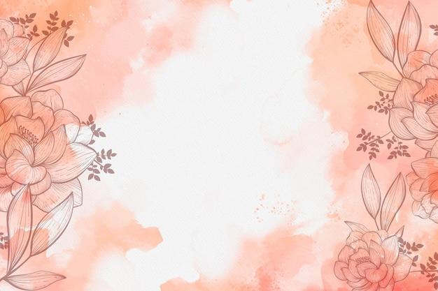 Acuarela con fondo de flores dibujadas a mano