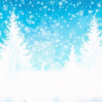 Acuarela de fondo de invierno
