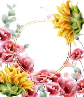 Acuarela de fondo de marco de amapola y girasoles