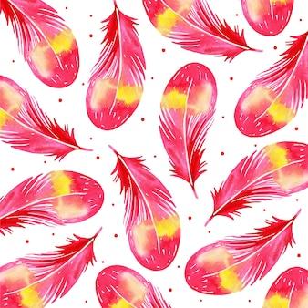 Acuarela fondo de patrón de pluma de san valentín