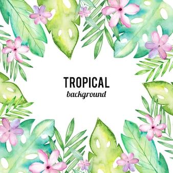 Acuarela de fondo tropical