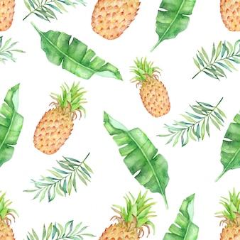 Acuarela de frutas tropicales y hojas sin patrón.