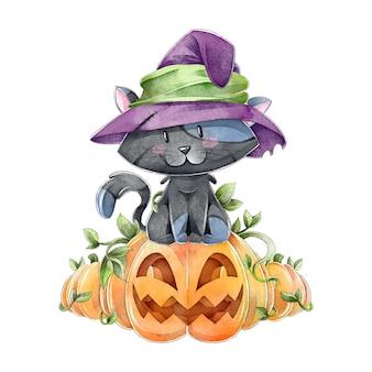 Acuarela gato de halloween