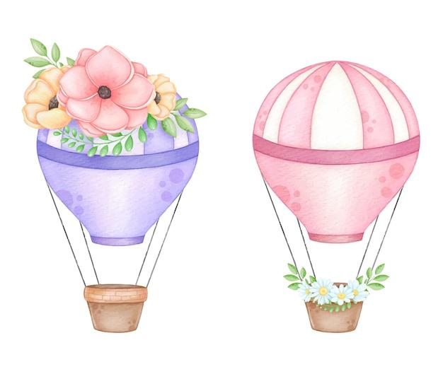 Acuarela globos aerostáticos con corona de flores