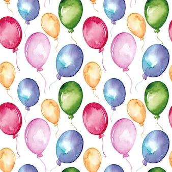Acuarela globos de colores sin patrón