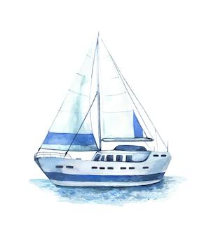 Acuarela goleta marina, fragata.