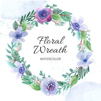 Acuarela de guirnalda floral para fondo de primavera, guardar la fecha, diseño de tarjeta de invitación