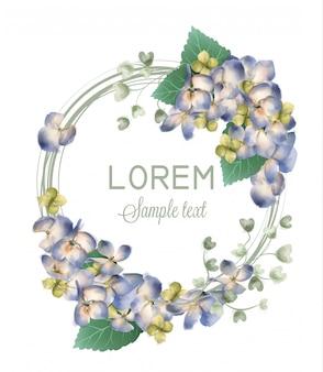 Acuarela guirnalda hortensia primavera