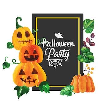 Acuarela halloween con marco negro.