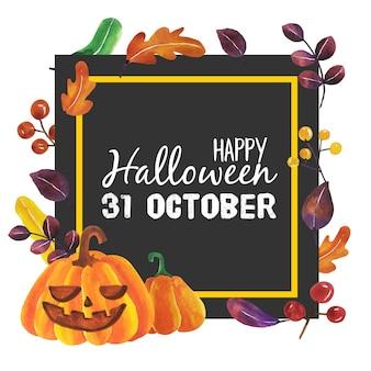 Acuarela de halloween pumpkins con marco negro.