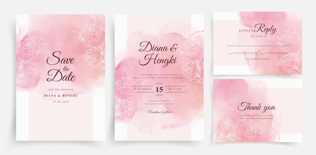 Acuarela hermosa tarjeta de boda con líneas florales
