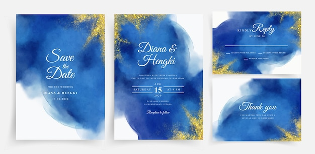 Acuarela hermosa tarjeta de boda con oro brillante