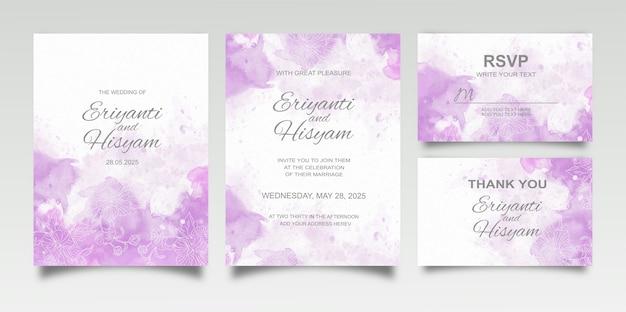 Acuarela hermosa tarjeta de boda con salpicaduras y líneas florales