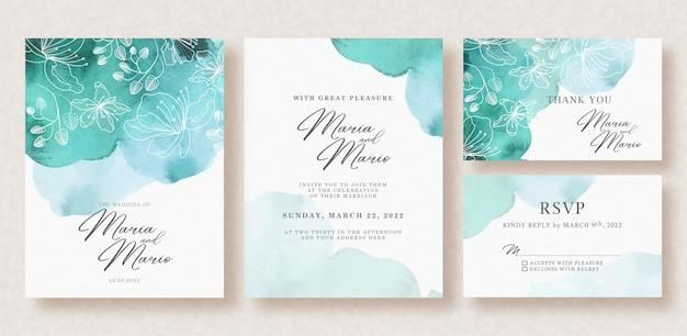 Acuarela hermosa tarjeta de boda con salpicaduras de vegetación y brillo