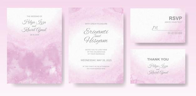 Acuarela hermosa tarjeta de boda con splash