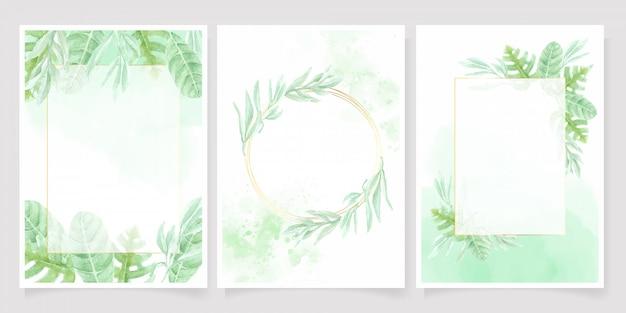 Acuarela hoja verde sobre fondo verde splash colección de plantillas de tarjetas de invitación de boda