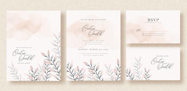 Acuarela de hojas florales en invitación de boda
