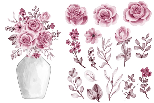Acuarela, hojas, con, rosa, oro rosa, aislado clip art