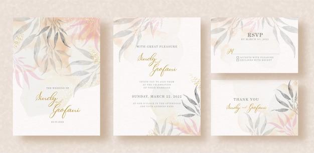 Acuarela de hojas tropicales con fondo de salpicaduras en tarjeta de invitación de boda