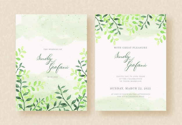 Acuarela de hojas verdes en el diseño de invitación de boda