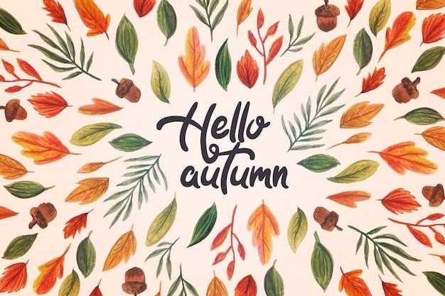 Acuarela hola letras de otoño