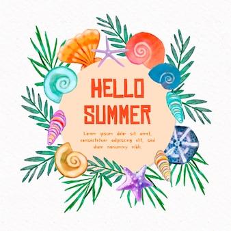 Acuarela hola verano con conchas de mar